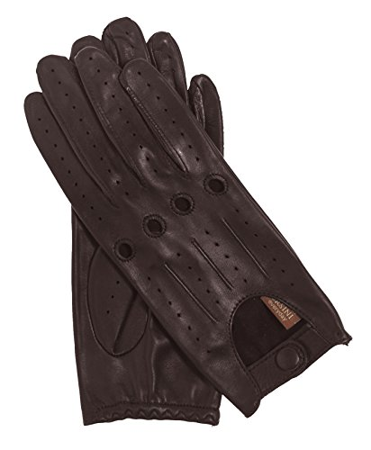 Fratelli Orsini Everyday Women's Open Back Leather Driving Gloves Size 7 Color Dark Brown