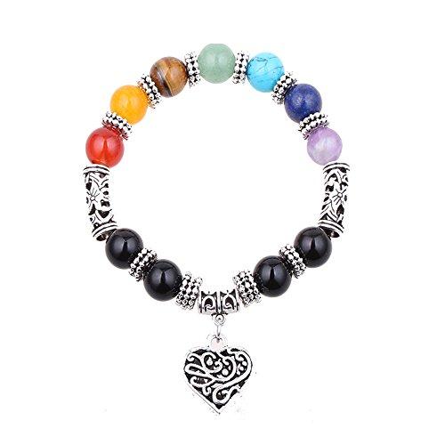 QSKS 7 Colorful Healing Balance Stone Beaded Bracelet Yoga Reiki Charm Heart Bracelets