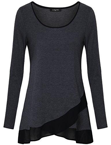 Long Sleeve Tops,Laksmi Long Sleeve A line Splicing Chiffon Irregular Hem Loose Fit Tunic Tops,Colorful Grey X-Large