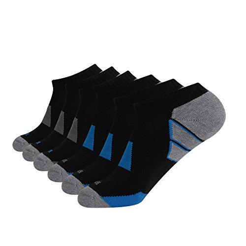 JOYNÉE Men's 6 Pack Athletic No Show Performance Comfort Cushioned Low Cut (Tesla Ankle High Black Shoes)