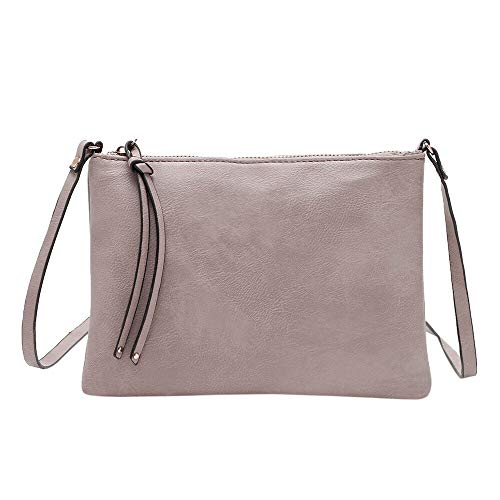 Clearance Sale! ZOMUSAR Women's PU Leather Pure Color Wristlet Clutch Phone Wallet Mini Crossbody Purse Bag with Card Slots (Gray)