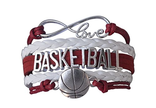 Basketball Charm Bracelet - Maroon Infinity Love Adjustable Charm Bracelet with Basketball Charm for Women, Teens and -