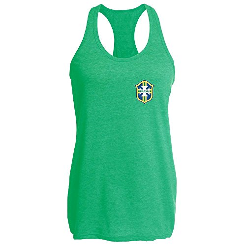 Pop Threads Brazil Futbol Soccer Retro National Team Heather Kelly L Womens Tank (National Costume Brasil)