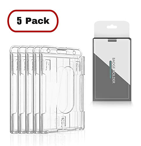 CEYDEY 5 Pack Vertical (2-3 Cards) ID Badge Holder Case Hard Plastic-Clear 2-Sided Heavy Duty Credit Card Cover Transparent
