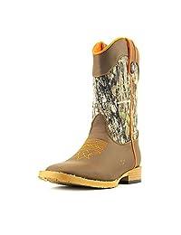 Double Barrel Boys' Buckshot Side Zipper Cowboy Boot Square Toe