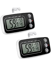ORIA Refrigerator Thermometer, 2 Pack Digital Freezer Thermometer, Fridge Thermometer with Max and Min Record, Magnetic, for Kitchen, Home, Restaurants - Black