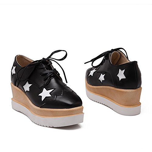 AllhqFashion Mujer PU Cordón Tacón Medio Material Suave Puntera Cerrada Puntera Cuadrada ZapatosdeTacón Negro