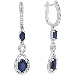 14K Gold Each Oval Cut Blue Sapphire & Round Diamond Ladies Infinity Drop Earrings