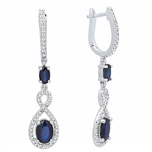 (14K White Gold Each Oval Cut Blue Sapphire & Round Diamond Ladies Infinity Drop Earrings)