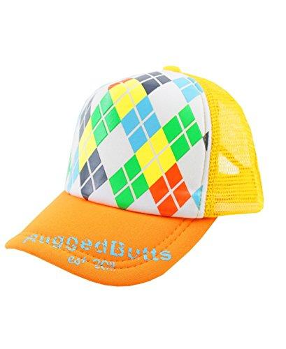 RuggedButts Little Boys Snap Back Argyle Trucker Hat - Orange - 2T-5 (L)