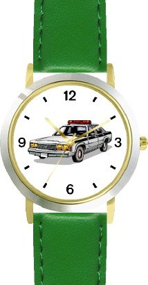 Police Car 2 - WATCHBUDDY DELUXE TWO-TONE THEME WATCH - Arabic Numbers - Green Leather Strap-Size-Large ( Men's Size or Jumbo Women's Size )