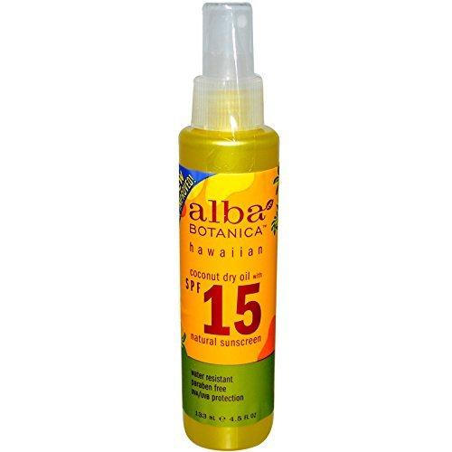 Alba Botanica, Coconut Dry Oil with SPF 15, Natural Sunscreen, 4.5 fl oz (133 ml) - - Sunscreen 15 Alba Spf