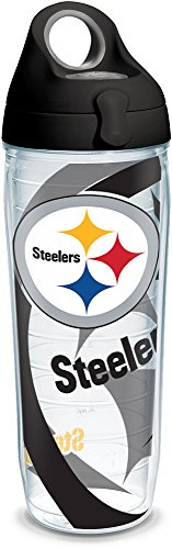 Tervis 1292589 NFL Pittsburgh Steelers Insulated Tumbler with Wrap and Black with Gray Lid, 24oz Water Bottle, - Bottle Insulated Pittsburgh