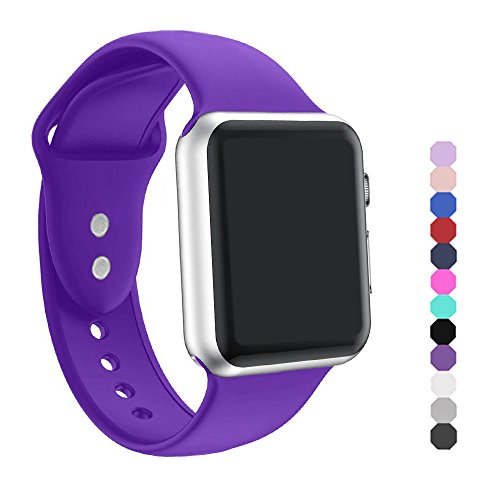 Ic6space Apple Watch Band  Premium Soft Silicone Sports Replacement Strap For Apple Watch  Purple 38Mm S M