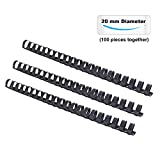 TIANSE 3/4'' Plastic Comb Binding Comb, 20mm 150 Sheets Capacity,21-Holes, Adjustable,Black (Pack of 100 Combs)