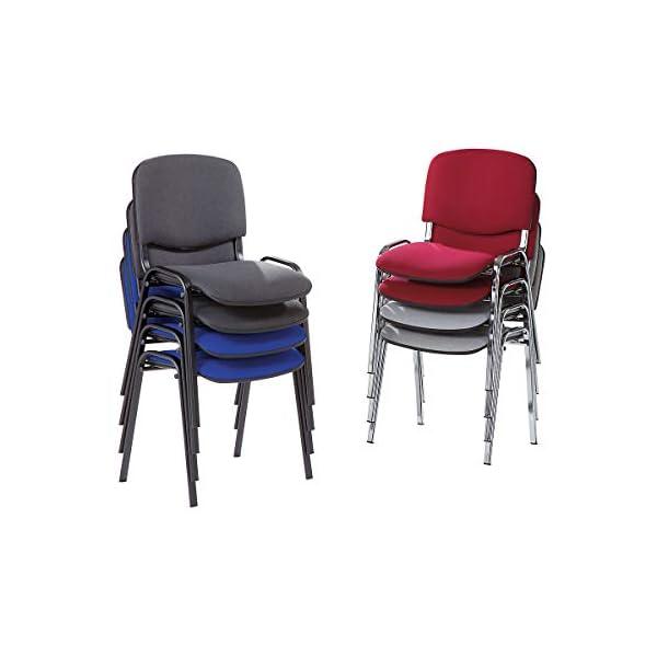 Siège visiteur empilable – dossier rembourré, piétement chromé – habillage gris, lot de 2 – chaise chaise empilable chaise empilable rembourrée chaises chaises empilables chaises empilables