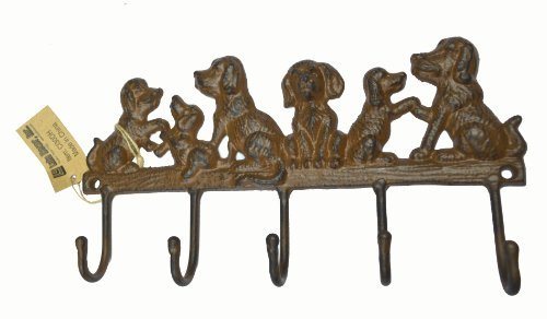 LuLu Decor, Cast Iron 5 Dog Key Hooks, Solid Sturdy Hooks, Ideal for Dog Lovers (Antique Brown)