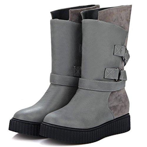 Women Comfort On Gray Calf Mid COOLCEPT Pull With Flats Boots Belt dAFOwqT5x