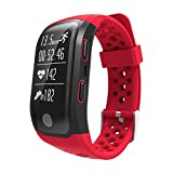 Smart Bracelet Bluetooth Heart Rate Monitor IP68 Waterproof GPS Smart Bracelet Tracker Watch(Red)