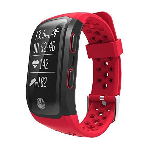 Smart Bracelet Bluetooth Heart Rate Monitor IP68 Waterproof GPS Smart Bracelet Tracker Watch(Red) by KingTo