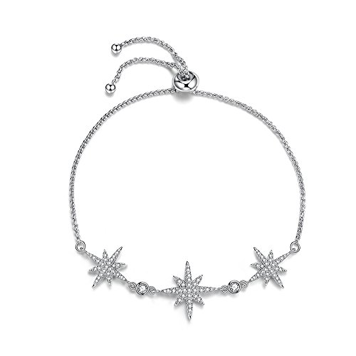 espere Rhodium Plating Micropave Bar Adjustable Bolo Bracelet Star Baguette Pear CZ -