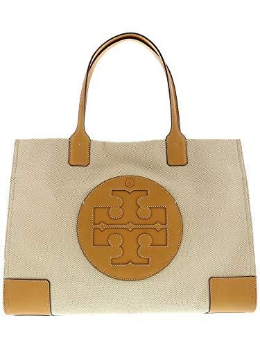 (Tory Burch Women's Ella Canvas Tote Natural Handbag )