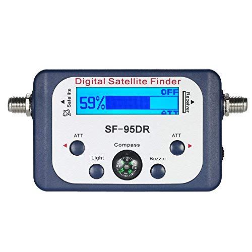 AGPtek Digital Satellite Signal Finder Meter for Dish Network Directv FTA with Compass and Audio Tone - Blue