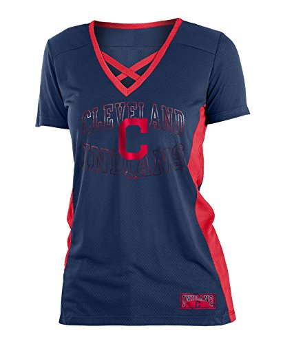 5th & Ocean Cleveland Indians Women's Logo Arch Polymesh V-Neck T-shirt (5th And Ocean Womens Shirt)