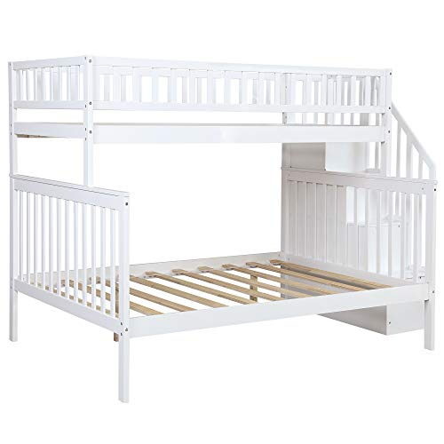 Twin Over Full Stairway Bunk Bed with Storage, Top Unikes Wooded Bunk Bed Frame Separate to Upper Twin Bed and Bottom Full Bed (White)