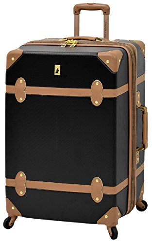 London Fog Retro 28'' Expandable Hardside Spinner, Black/Caramel by London Fog