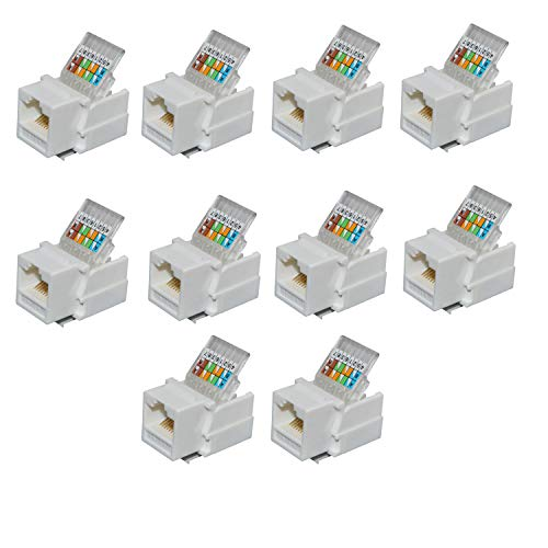 Antrader RJ45/Cat6/Cat5e Tool-Less Keystone Jack Connector Adapter, Keystone Module Connector, for Internet Network Ethernet LAN Cable, with Color Coded Wiring Schema Snap in Stand, 10-Pack