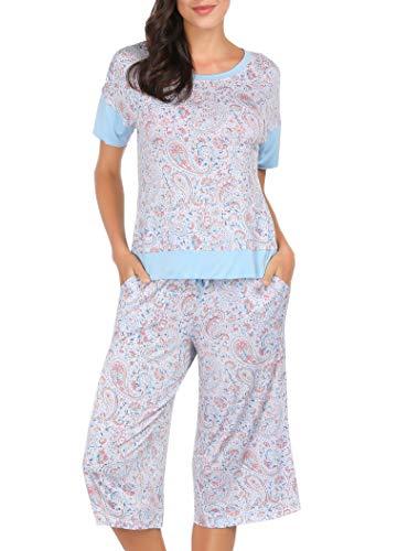 Pajamas Charm Print - Summer Pajamas for Women - Stylish Print Ladies Pajama Set, Oversized Shirt Capri Lounge Pants, Paisley Floral X-Large