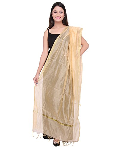 Dupatta Bazaar Indian Plain Beige Silk Dupatta ,Stole, Scarf, Chunni for Woman