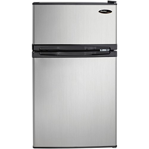 Danby DCR031B1BSLDD 3.1 cu. ft. 2 Door Compact Refrigerator, Steel (Renewed)
