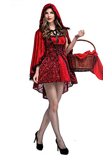 Witch Riding Ghost Costume (GoLoveY Women Red Riding Hood Costume Queen Witch Fancy Dress Cosplay For Christmas Game)