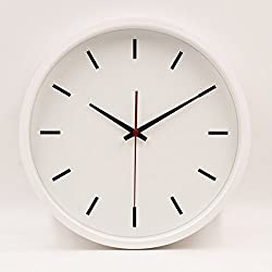 Hippih Silent Wall Clock Wood Non Ticking Digital Quiet Sweep 10-Inches Home Decor Vintage Wooden Clocks,White-scale
