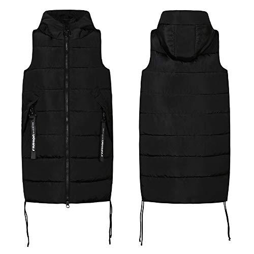 Xfentech Epais Hiver Vive Casual Femme Capuche Zip Doudoune Sans Couleur Manteau Manches Noir Automne Veste Gilet rxqwrzS0
