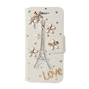 DIY Eiffel Tower and Love Pattern Full Body Leather Case with Stand for iPhone 5/5S