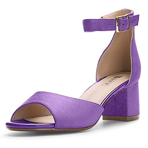 (IDIFU Women's IN2 Candie Low Chunky Block Heel Pump Heeled Sandals Buckle Ankle Strap Peep Toe Dress Shoes (8.5 M US, Lavender Suede))