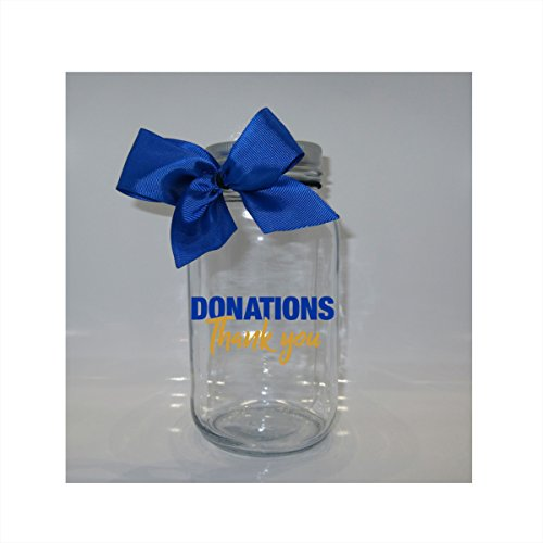 Donations Thank You Mason Jar Bank - Coin Slot Lid - Available in 3 - Donations Product