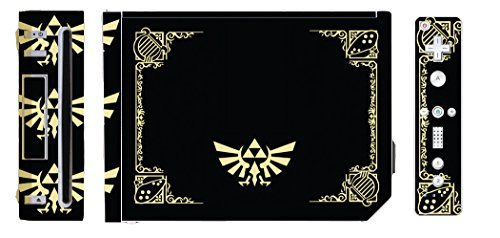 Vinyl Skin Wii - Legend of Zelda Triforce Logo Special Edition Black Gold Video Game Vinyl Decal Skin Sticker Cover for the Nintendo Wii System Console