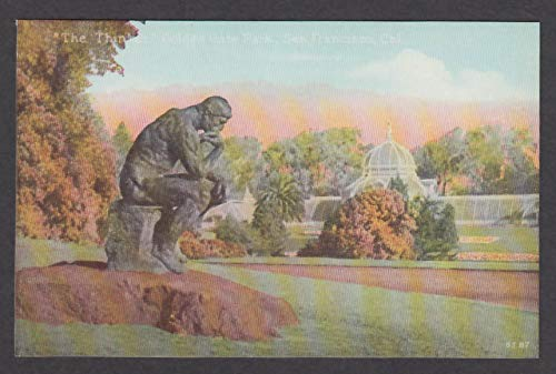 (The Thinker Statue Golden Gate Park San Francisco CA postcard 1915)
