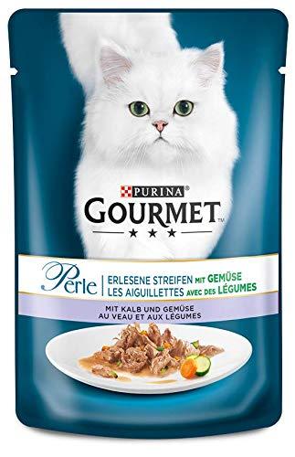 PURINA GOURMET Perle Erlesene Streifen mit Gemüse Katzenfutter nass, verschiedene Sorten, 24er Pack (24 x 85g)