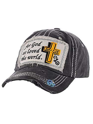 NYFASHION101 Women's Distressed Unconstructed Embroidered Baseball Cap Dad Hat, John 3:16 Cross, Black
