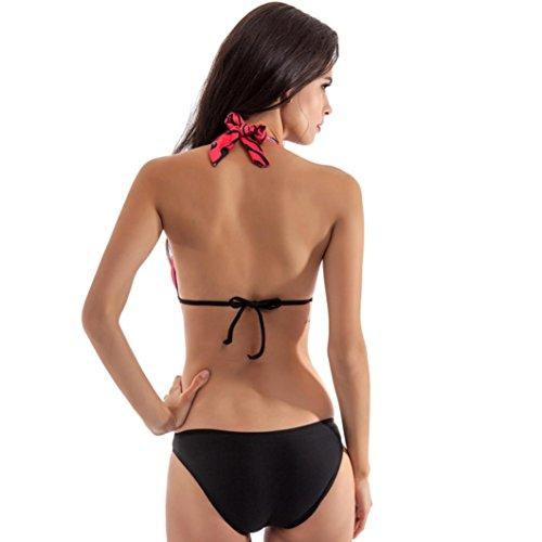 zolimx Mujeres Retro impresión una pieza traje de baño acolchado Bikini traje de baño Bikini Multicolor