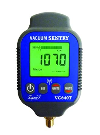 "Supco VG640T   Vacuum Sentry With Local Alarm and Remote Alarm, LCD Display, 0-19000 microns Range, 10% Accuracy, 1/4"" Male Flare Fitting Connection"