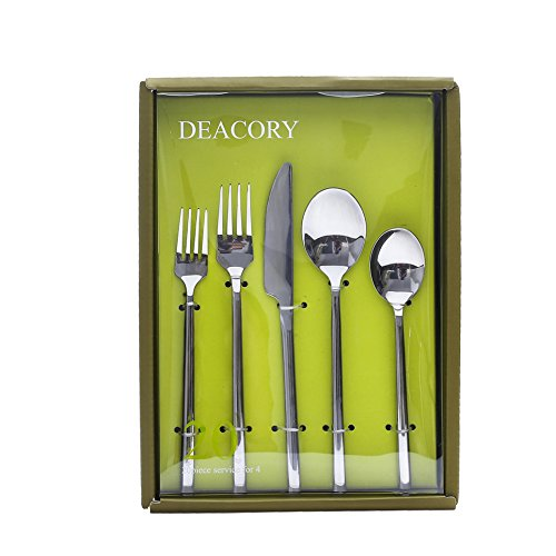 Deacory Flatware Set Stainless Steel Silverware Mirror Polish 20 Piece Service for 4 with Gift Box Packing Include Knife Fork Spoon