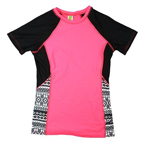 Next by Athena Color Block Printed Rash Guard Swimwear Top (Large, Black)