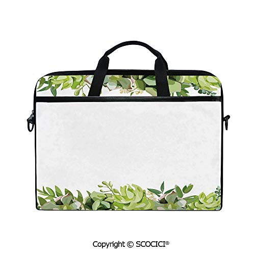 Laptop Sleeve Notebook Bag Case Messenger Shoulder Laptop Bag Cactus Flower Garden Green Fern Seasonal Branch and Leaves Frame Borders Decorative with Handle and Extra Side - Leaves Border Fern