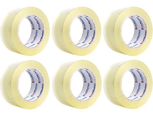BoxMates Premium Packing Tape (Pack of 6)-2.0mil 2inch Wide 110Yard Per Roll,Heavy Duty Sealing Adhesive Tape for Office&Storage, Packaging Moving&Shipping